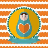 Matryoshka vintage card design. Green and orange. Vector Stock Image