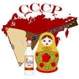 Matryoshka, vodka, balalaica Fotos de archivo libres de regalías