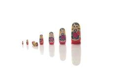 Matryoshka woody dolls russian toys Royalty Free Stock Photo