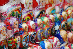 Matryoshkas. Rows of Russian Matryoshkas or nesting dolls stock photography