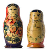 Matryoshkas. Two matryoshka dolls on white Stock Photo