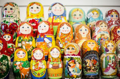 Matryoshkas in Moscow shop Royalty Free Stock Images