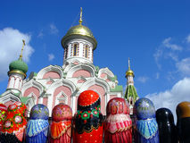 Matryoshkas at Red Square. Row of Matryoshkas (Russian nesting doll) and a church at Red Square stock photography