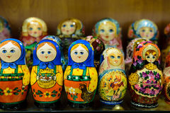 Matryoshkas in russian souvenir shop in Moscow Royalty Free Stock Photos