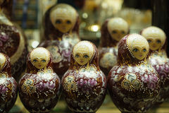 Matryoshkas in russian souvenir shop in Moscow Stock Images