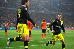 Mats Hummels celebrates goal during the Champions League match against Shakhtar Royalty Free Stock Photos