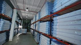 Mats production, mattress warehouse on production, skidder for mattresses, modern factory, mattresses in stock, general. Plan stock video footage
