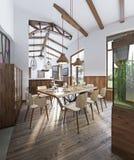 Matsal med den stora äta middag tabellen och höga tak i lofen Fotografering för Bildbyråer