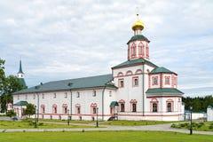 Matsalkyrka av epiphanyen i den Valday Iversky kloster, Ryssland Royaltyfri Foto