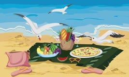 matseagulls stjäler till att försöka Royaltyfria Bilder