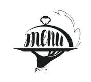 Matservice som sköter om logo Symbol för designmenyrestaurang eller kafé stock illustrationer
