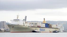 Matson ładunku statek MANOA przyjeżdża przy portem Oakland Obrazy Stock