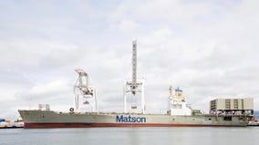 Matson ładunku statek MATSONIA dokował przy portem Oakland Fotografia Royalty Free