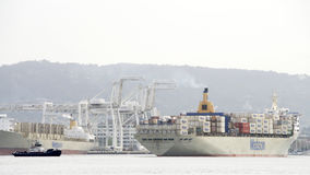 Matson Cargo Ship MANOA arriving at the Port of Oakland. Royalty Free Stock Photo