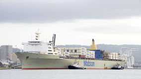 Matson Cargo Ship MANOA arriving at the Port of Oakland. Stock Images