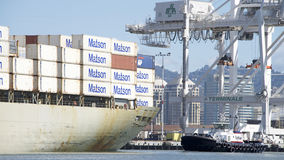 Matson Cargo Ship MANOA departing the Port of Oakland Royalty Free Stock Image