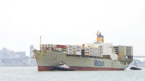 Matson cargo ship MATSONIA arriving at the Port of Oakland Royalty Free Stock Images