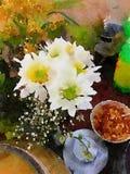Matställe med blommor Royaltyfria Foton