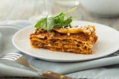 Matställe med klassiska lasagner bolognese med spenat för ost för béchamelsåsparmesan Royaltyfri Fotografi