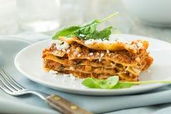 Matställe med klassiska lasagner bolognese med spenat för ost för béchamelsåsparmesan Arkivbild