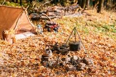 Matställekockar i en stor kruka över ett öppet avfyrar höstlig skog Royaltyfria Foton