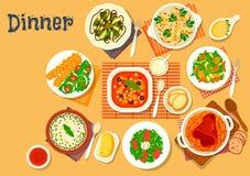 Matställesymbol med disk av italienare, tysk kokkonst stock illustrationer