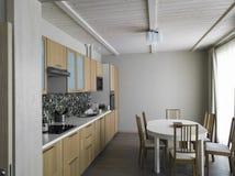 Matställetabell i modernt kök arkivbild