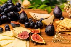 Matstilleben med ost, druvor och fikonträd royaltyfri bild