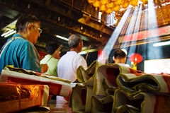 Matsu followers. Ilan Nanfangao the temple pilgrims Royalty Free Stock Photo