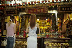 Matsu Temple in Keelung. Matsu followers are praying Keelung Stock Images