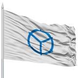 Matsue Capital City Flag sur le mât de drapeau, volant dans le vent, d'isolement sur le fond blanc Images stock