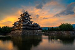 Sunet at Matsumoto Castle stock image