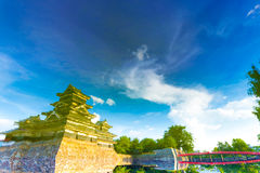 Matsumoto Castle Artsy Water Surface Reflection Royalty Free Stock Images