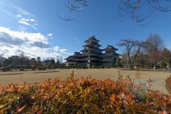 Matsumoto castle with a beautiful foreground in Matsumoto, Nagano, Japan. View of Matsumoto castle with a beautiful foreground in Matsumoto, Nagano, Japan royalty free stock images