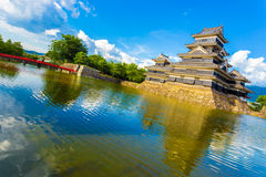 Matsumoto Castle Bridge Moat Water Angled Day Stock Photos