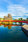 Matsumoto Castle Bridge Water Reflection V Stock Photos