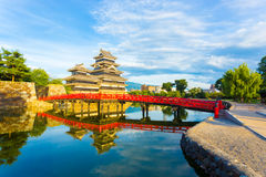 Matsumoto Castle Bridge Water Sky Reflection H Stock Photo