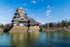 Matsumoto Castle in bright sky stock image