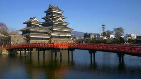 Matsumoto castle in cherry blossom season, Nagano, Japan stock video footage