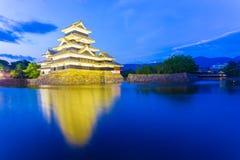 Matsumoto Castle Distant Entrance Night Lights Stock Image