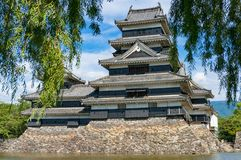 Matsumoto castle framed by weeping willow tree Stock Images