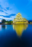 Matsumoto Castle Lighted Blue Hour Night V Royalty Free Stock Images