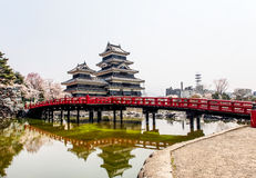 Matsumoto castle with the red bridge, Matsumoto, Japan 4 Royalty Free Stock Image
