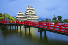 Matsumoto castle and red bridgein night, Nagono, Japan Stock Images