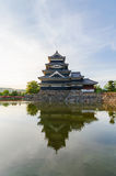 Matsumoto castle reflect on water in evening at nagano japan Stock Images
