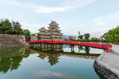 Matsumoto castle reflect on water in evening at nagano japan Stock Photography