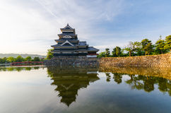 Matsumoto castle reflect on water in evening at nagano japan Stock Photo
