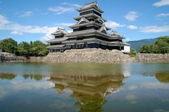 Matsumoto Castle reflected into moat water, Japan Royalty Free Stock Photos