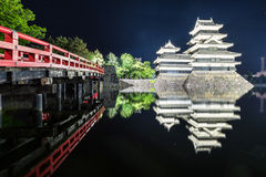 Matsumoto castle with the reflection in the water Stock Image