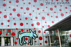 Matsumoto City Art Museum with Yayoi Kusama polkadots wall royalty free stock photography